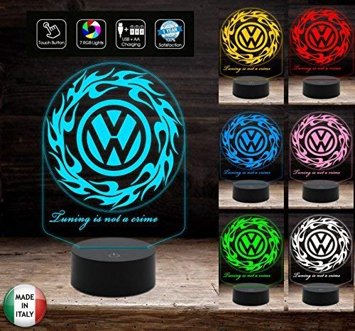 Logo VOLKSWAGEN Lampada a led 7 colori selezionabili da scrivania Idea regalo auto originale Decorazione della casa Night Light