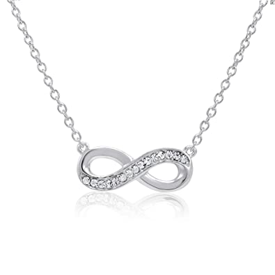 Amazon sterling silver crystal infinity necklace made with sterling silver crystal infinity necklace made with swarovski crystals aloadofball Gallery