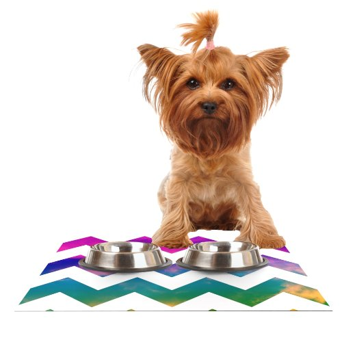 Kess InHouse Beth Engel Lucky Chevron  Feeding Mat for Pet Bowl, 24 by 15