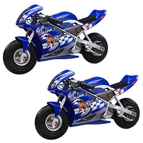 Razor Mini Electric Single Speed Racing Motorcycle Pocket Rocket, Blue (2 Pack) - Pocket Rocket Mini Electric Motorcycle