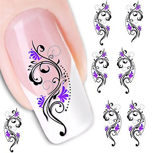 ansfer Slide Decal Sticker Nail Art Tips Toe Decoration XF1423 ()