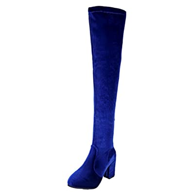 c522911c273a Anshinto Winter Women Thigh High Boots Over The Knee Boot Stretch Flock  High Heels Shoes (