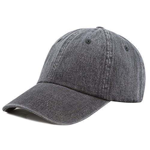 - The Hat Depot 300N Washed Cotton Low Profile Denim Baseball Cap (Black)