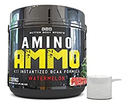 Amino Ammo Branch Chain Amino Acid Recovery Supplement! Powder BCAA In A Great Tasting Watermelon Flavor! Contains 4:1:1 Ratio of Leucine, Isoleucine, & Valine! Trusted by Fitness Experts!