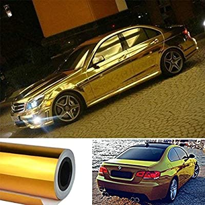 "DIYAH Gloss Chrome Mirror Vinyl Car Wrap Sticker with Air Release Bubble Free Anti-Wrinkle 12"" X 60"" (1 FT X 5FT) (Golden): Automotive"