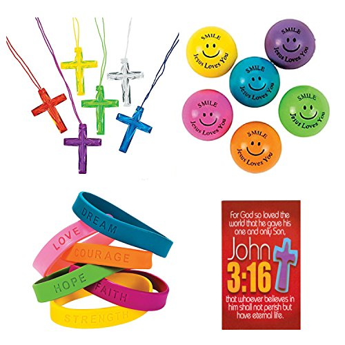 145 Piece Religious Christian Themed Party Favors Gift Bundle Set for Kids by Parties Can Be Simple