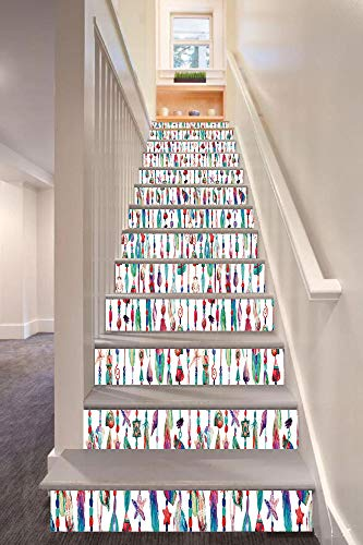 - Feather 3D Stair Riser Stickers Removable Wall Murals Stickers,Marine Accessory Chains Pendants Mineral Stones Shells Beads Watercolor Style Art Decorative,for Home Decor 39.3
