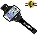 Armband,arteesol 5.5 inch sports workout exercise arm holder with Fingerprint Touch Supported, Key Holder & Screen Protector (Black)
