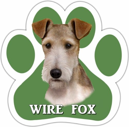 Wire Fox Terrier Car Magnet With Unique Paw Shaped Design Measures 5.2 by 5.2 Inches Covered In UV Gloss For Weather Protection (Fox Magnet Terrier)