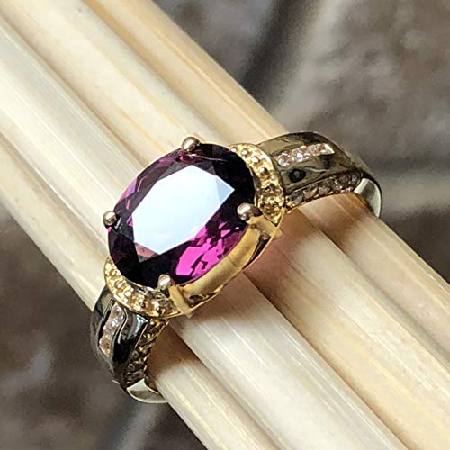 - Estate Natural 2.5ct Raspberry Rhodolite Garnet, White Topaz 14K Yellow Gold Vermeil Sterling Silver Ring sz 8.5