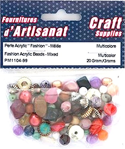 FASHION ACRYLIC BEADS MIXED MULTI COLOURED 20 GRAMS ARTS & CRAFTS PM1104-99