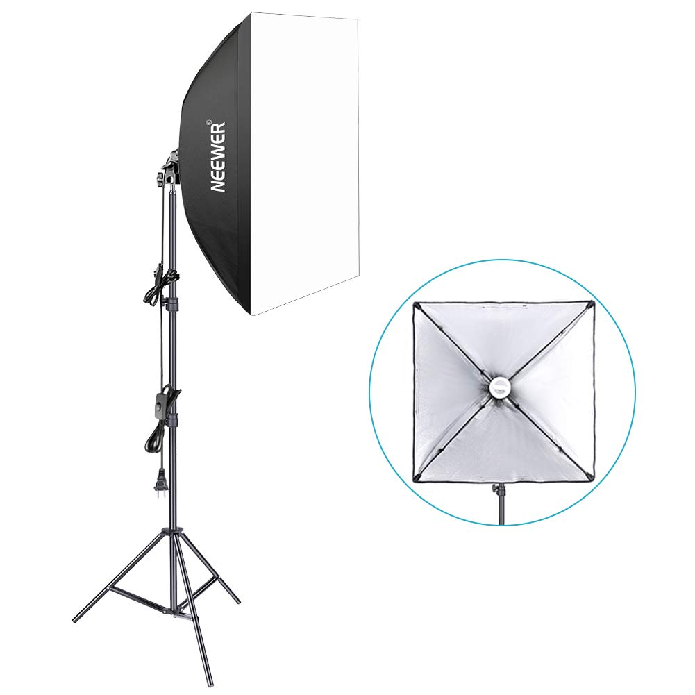 Neewer 350W 5500K Photography Studio Softbox Lighting Kit: 24x24 inches/60x60 Centimeters Softbox Diffuser, 85W 5500K Continuous Light Bulb and 6.5 Feet Light Stand 90093945