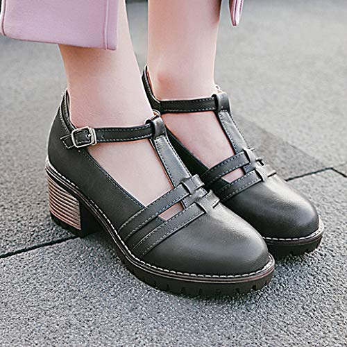 Women's Round Toe Platform Shoes T-Strap Chunky Heel Mary Jane Pumps Oxford Dress Shoes (Mule Trail Saddle)