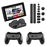 PECHAM Accessory Kit for Nintendo Switch with Joy-Con Comfort Grip, Nintendo Switch Console Charging Dock Stand, Dustproof Set kit (Black) Review