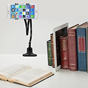 ITART Flexible Cell Phone Holder for iPhone Gooseneck Bracket Long Arms Phone Clip Stand in Bed, Office, Kitchen Black