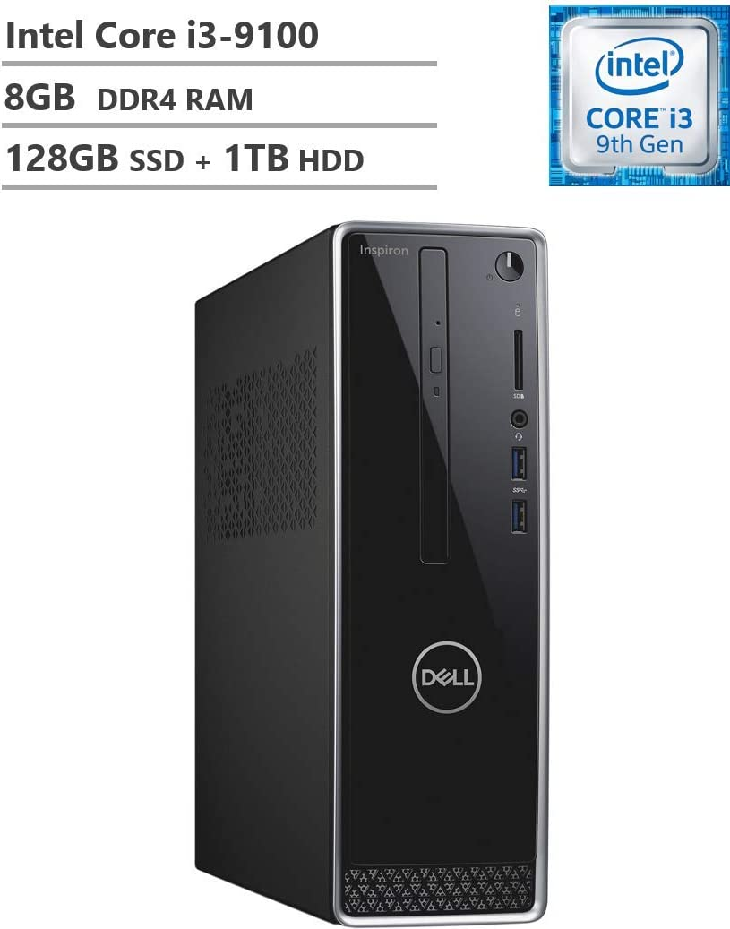 Newest Dell Inspiron 3471 Small Form Mini Desktop, 9th Gen Core i3-9100 3.60 GHz, 8GB DDR4 RAM, 128GB M.2. SATA SSD(Boot) + 1TB HDD, 802.11bgn + Bluetooth 4.0, HDMI, VGA, DVD-RW, Windows 10