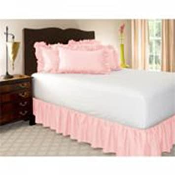 Leoie Solid Color Ruffle Wrap Around Elastic Bed Skirts Dressing Drop Bed Decoration Pink 150 * 200 + 38cm