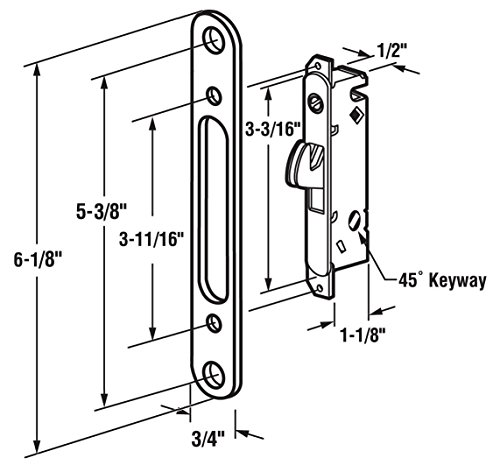 Sliding Glass Door Parts: FPL Door Locks And Hardware Inc. FPL #3-45-S Sliding Glass