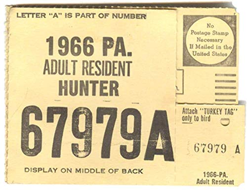 1966 Adult Resident Hunter PA Hunting License - #67979A for sale  Delivered anywhere in USA