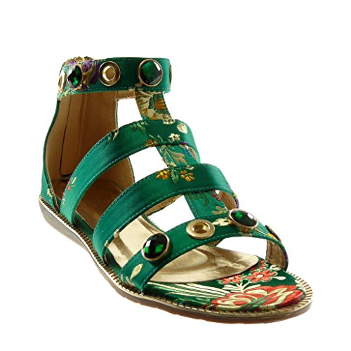 Angkorly Women's Fashion Shoes Sandals - Ankle Strap - Gladiator - Jewelry - Flowers - Embroidered Flat Heel 1.5 cm Green 0Fec8B00