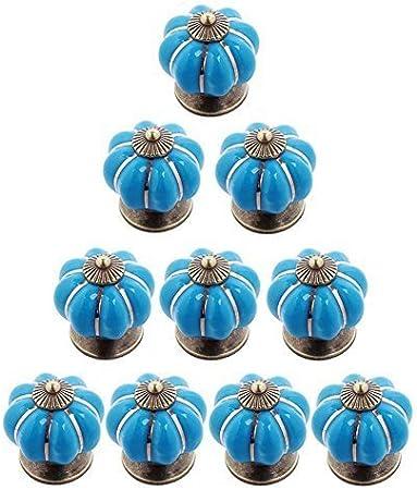 10Pcs Ceramic Pumpkin Cupboard Drawer Knobs Retro Door Knobs Pull Handles for Dresser Cabinet Cupboard Drawer