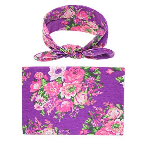 - Weiliru Newborn Receiving Blanket Headband Set Flower Print Baby Swaddle Receiving Blankets Baby Throw Blanket