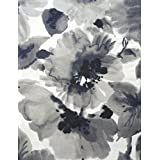 Cynthia Rowley Fabric Tablecloth Exotic Floral Pattern in Shades of Black, Midnight Blue and Taupe -- 60 Inches x 102 Inches