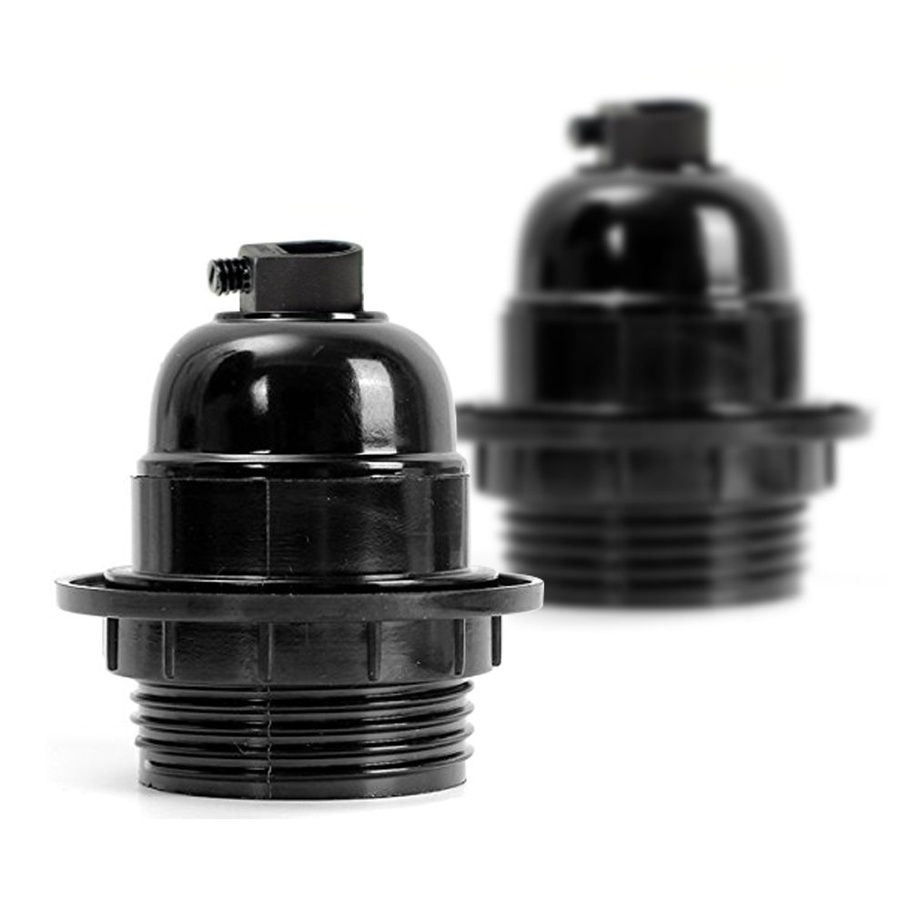 2 pack Vintage E27 Lamp Holder ES Screw Light Bulb Holder Pendant Socket Black Color