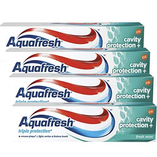 AquaFresh Cavity Protection+ Daily Care Toothpaste, Fresh Mint - 12 Fl Oz - 4 Pack x 3.04 Fl Oz / 90 mL Each