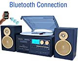 Boytone BT-28SPG 3-Speed Bluetooth Turntable System, Front Loading CD/MP3/Cassette Player, AM/FM Stereo Radio, Aux, SD Slot, USB, Headphone Jack, Wooden Speakers, 110/220 Volt (Gold Limited Edition)