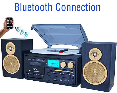 (Boytone BT-28SPG 3-Speed Bluetooth Turntable System, Front Loading CD/MP3/Cassette Player, AM/FM Stereo Radio, Aux, SD Slot, USB, Headphone Jack, Wooden Speakers, 110/220 Volt (Gold Limited Edition))