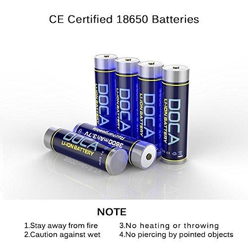 18650 Rechargeable Battery 3.7V 3600mAh Li-on Rechargeable Battery,Li-ion Battery Packs for Flashlight,Headlamps,Bike Light(2 Pcs) by DOCA (Image #5)