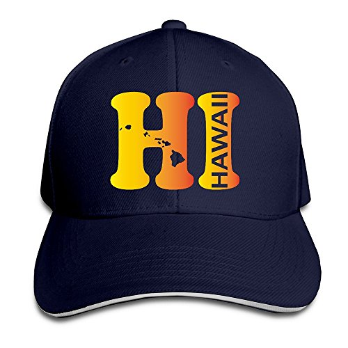 Hi Hawaii State Map Navy Adjustable Snapback Caps Unisex Sandwich Hats for $<!--$7.99-->