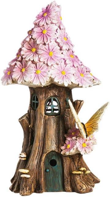 Small Secret Garden Solar Powered Fairy House Light Pink Petals Garden Decor