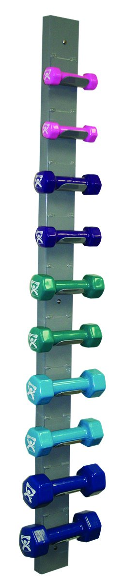CanDo 10-0564 Vinyl Coated Dumbbell, 10-piece Set with Wall Rack Fabrication Enterprises