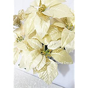Sweet Home Deco 9''W Silk Shinning Sprakled Poinsettia Artificial Flower Heads (Set of 5) Christmas Decorations (Gold) 2
