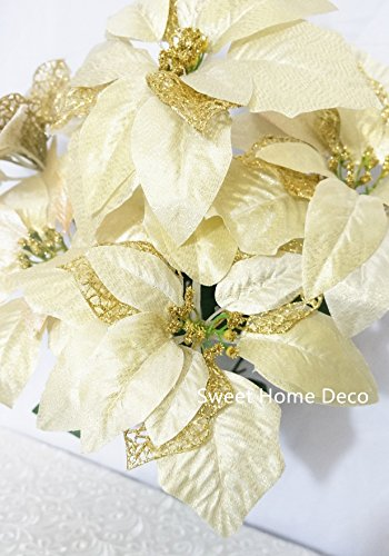 Sweet-Home-Deco-9W-Silk-Shinning-Sprakled-Poinsettia-Artificial-Flower-Heads-Set-of-5-Christmas-Decorations-Gold