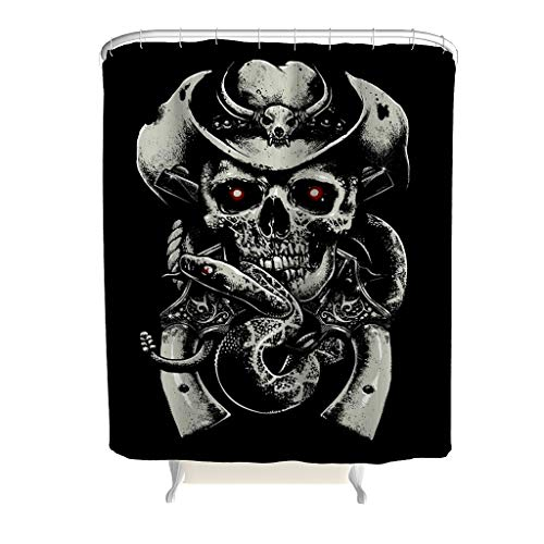 KASTLEE Black Monochrome Cowboy Skull Guns Snake Pirate Pattern Waterproof Polyester Bath Shower Curtains Windows Curtain Excellent Tensile Strength White 72x79inch