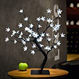 lighted tabletop clock - Glumes 48 LED Cherry Blossom Desk Top Bonsai Tree Light |Bright Warm White Tree Lamp|Fairy Light| Indoor Outdoor Decoration for Christmas Party Wedding Holiday Birthday Garden Patio Bedroom|American Warehouse Shipment (White)
