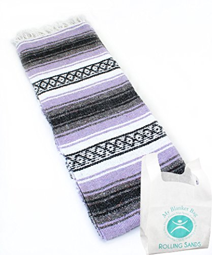 Hand Woven Classic Mexican Yoga Blankets Light Lavender by Rolling Sands