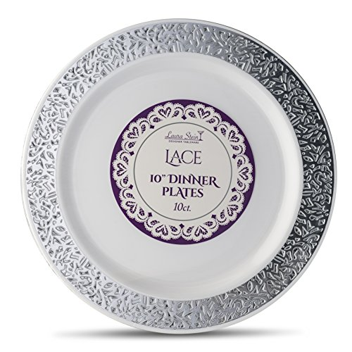 Laura Stein Designer Tableware Premium Heavyweight 10'' Inch White And Silver Rim Plastic Party & Wedding Dinner Plates Lace Series Disposable Dishes Pack of 40 Plates