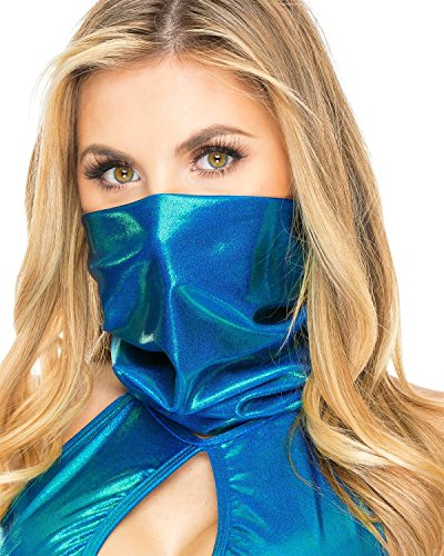 Women's Holographic Turquoise Face Bandana Rave One Size
