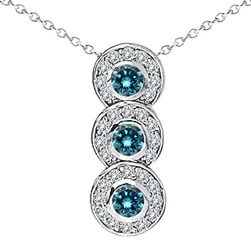 "0.75 Carat Blue Diamond Fancy Journey Three Stone Pendant Necklace With 18"" Chain 14K White Gold"
