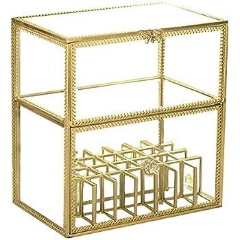 Gold Vintage Glass High End Perfume/Jewelry/Cream Display,Lipstick Holder Dust  Free Mirror LipGloss/Eyeliner Storage/Vanity Cabinet/Makeup Organizer ...