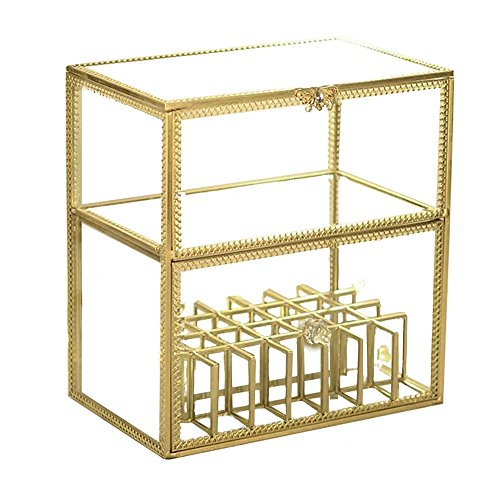 Hersoo Gold Vintage Glass High-End Lipstick/Brushholder/Perfume/Jewelry/Cream Display,Dust Free Mirror Lipgloss/Eyeliner Storage/Vanity 28Cube Cabinet/Makeup Organizer Terrariums for Cosmetic