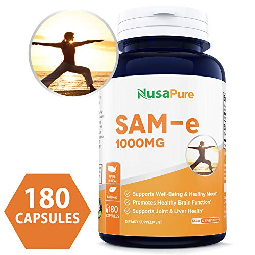 SAM-e 1000mg 180 Capsules (Non-GMO) - Same (S-Adenosyl Methionine) to Support Mood, Joint Health, and Brain Function - Extra Strength SAM e Pills - 250mg per caps