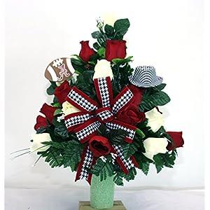 Alabama Crimson Tide Fan Vase Cemetery Flower Arrangement 8