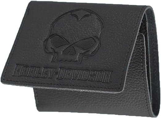 XML6145-GRYBLK Harley-Davidson Men/'s Embroidered Willie G Skull Tri-Fold Wallet