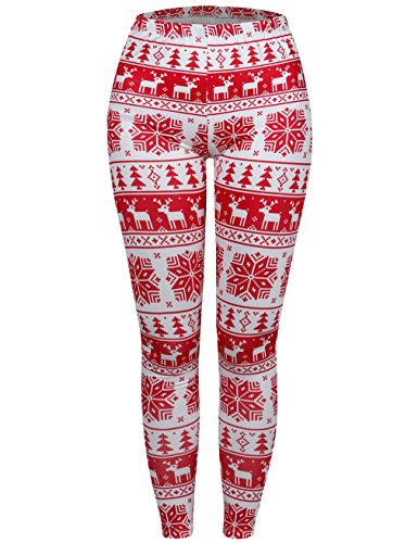 Snowflake Thermal (EMVANV Push Up Leggings,Autumn Thermal Underwear Bottoms,Red Snowflake XL)