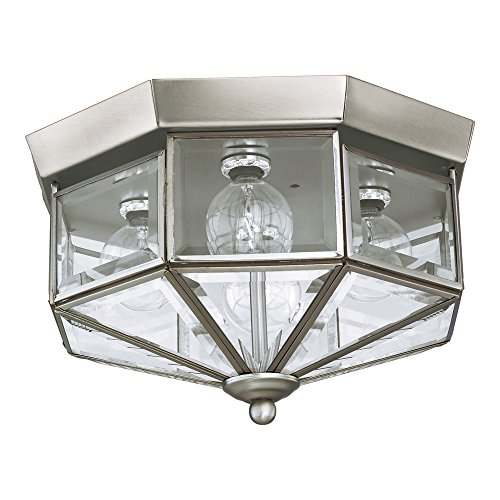 Glass Fixture Clear Beveled Light - Sea Gull Lighting 7662-962 Grandover Four-Light Flush Mount Ceiling Light with Clear Beveled Glass Panels, Brushed Nickel Finish